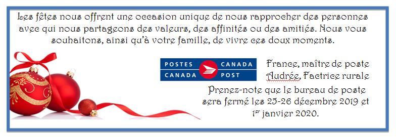 Postes canada - Horaire des fêtes
